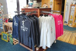 Minnesota printed long sleeve shirts in the Minnesota Fishing Museum gift shop