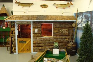 Minnesota fishing museum outside of cabin display