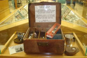 Vintage leather tackle box
