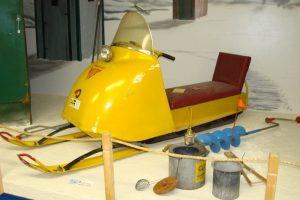 Vintage yellow snowmobile