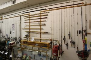 Wall full of fishing rods in the museum