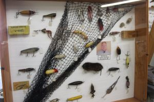 Fishing lures donated by Steve Sigford on display
