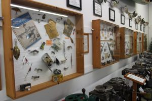 Historic lures on display along with old photos