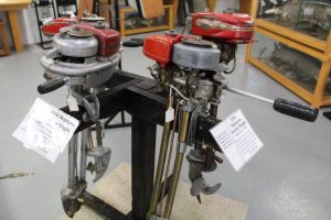 Outboard motors from the 1940s on display in the Minnesota Fishing Museum