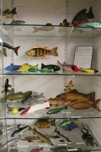 Case of fishing decoys in the Minnesota Fishing Museum