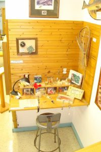 Lure workbench in the Minnesota Fishing Museum